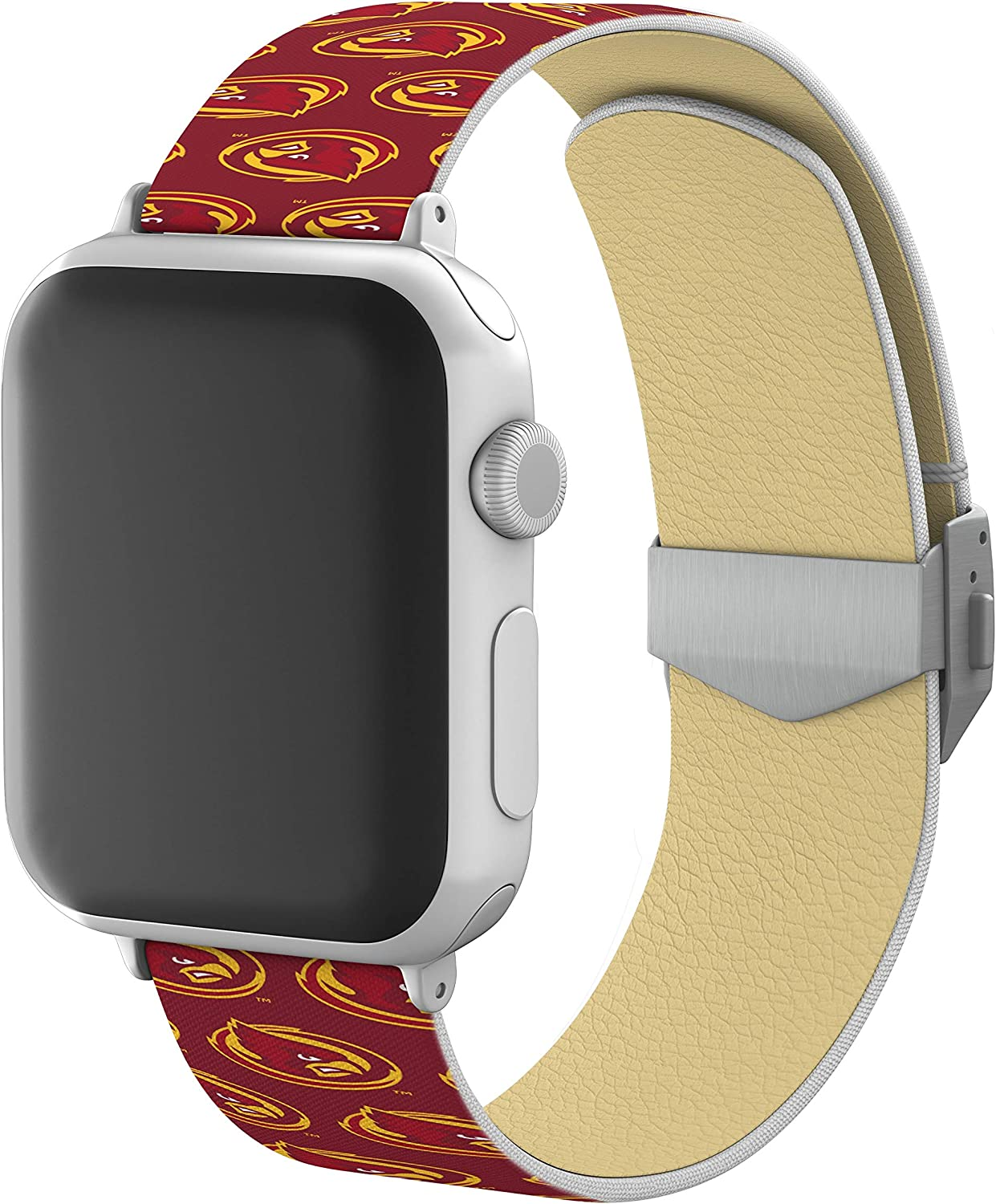 AFFINITY BANDS Iowa State Cyclones Full Print Watch Band with Engraved Buckle Compatible with Apple Watch - 42mm/44mm Repeating Logo