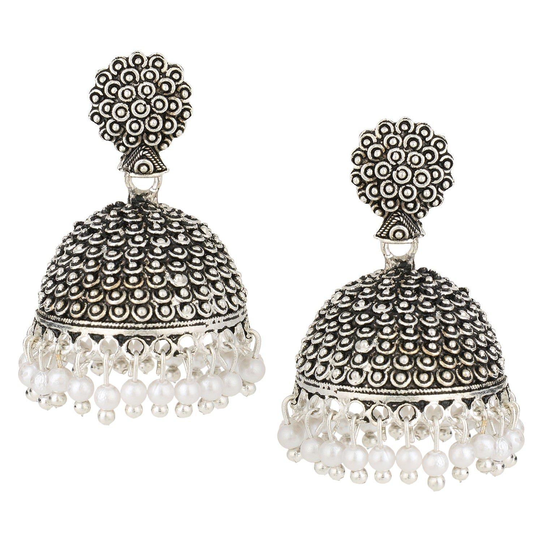 078f5702f Amazon.com: Efulgenz Indian Vintage Bollywood Gypsy Oxidized Silver Tone  Temple Ethnic Jhumka Jhumki Earrings for Women: Jewelry