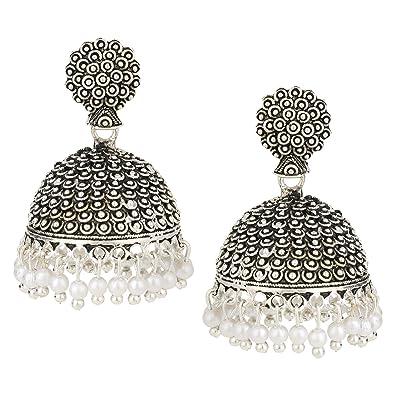 3c6d1d004 Amazon.com: Efulgenz Indian Vintage Bollywood Gypsy Oxidized Silver Tone  Temple Ethnic Jhumka Jhumki Earrings for Women: Jewelry