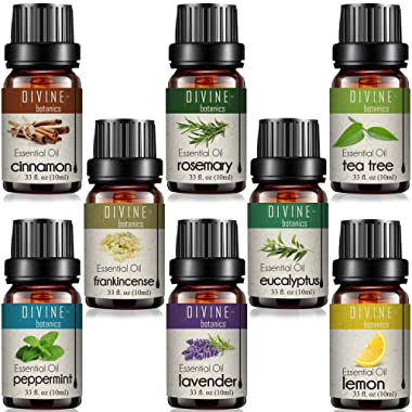 Aromatherapy Essential Oils Mothers Day Gifts Set for Diffuser - Pure Therapeutic Grade - Gift Set of 8 10ml bottles - Lavender Peppermint Lemon Tea Tree Frankincense Cinnamon Eucalyptus Rosemary