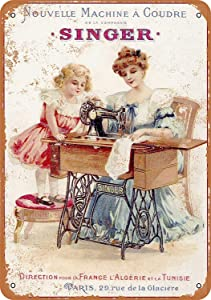 Yousigns 1889 French Singer Sewing Machines Metal Tin Sign 12 X 8 Inches Retro Vintage Decor