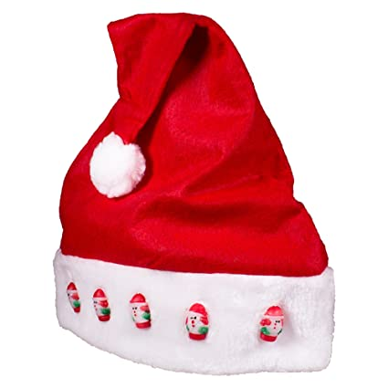 40bbaa2391068 Image Unavailable. Image not available for. Color  LED Light Up Holiday Santa  Hat