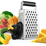 Zestkit Box Cheese Grater Stainless Steel with Silicone Hand Guard Set for Parmesan, Ginger, Vegetable (4 Sided)