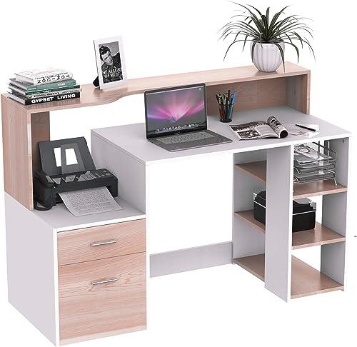 HOMCOM 54″ Multi-Level Modern Design Home Office Desk