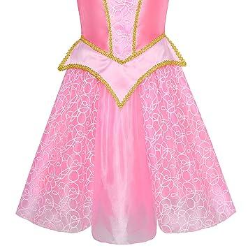 Sunny Fashion Vestido para niña Princesa Disfraz Arriba Rosa 6 años