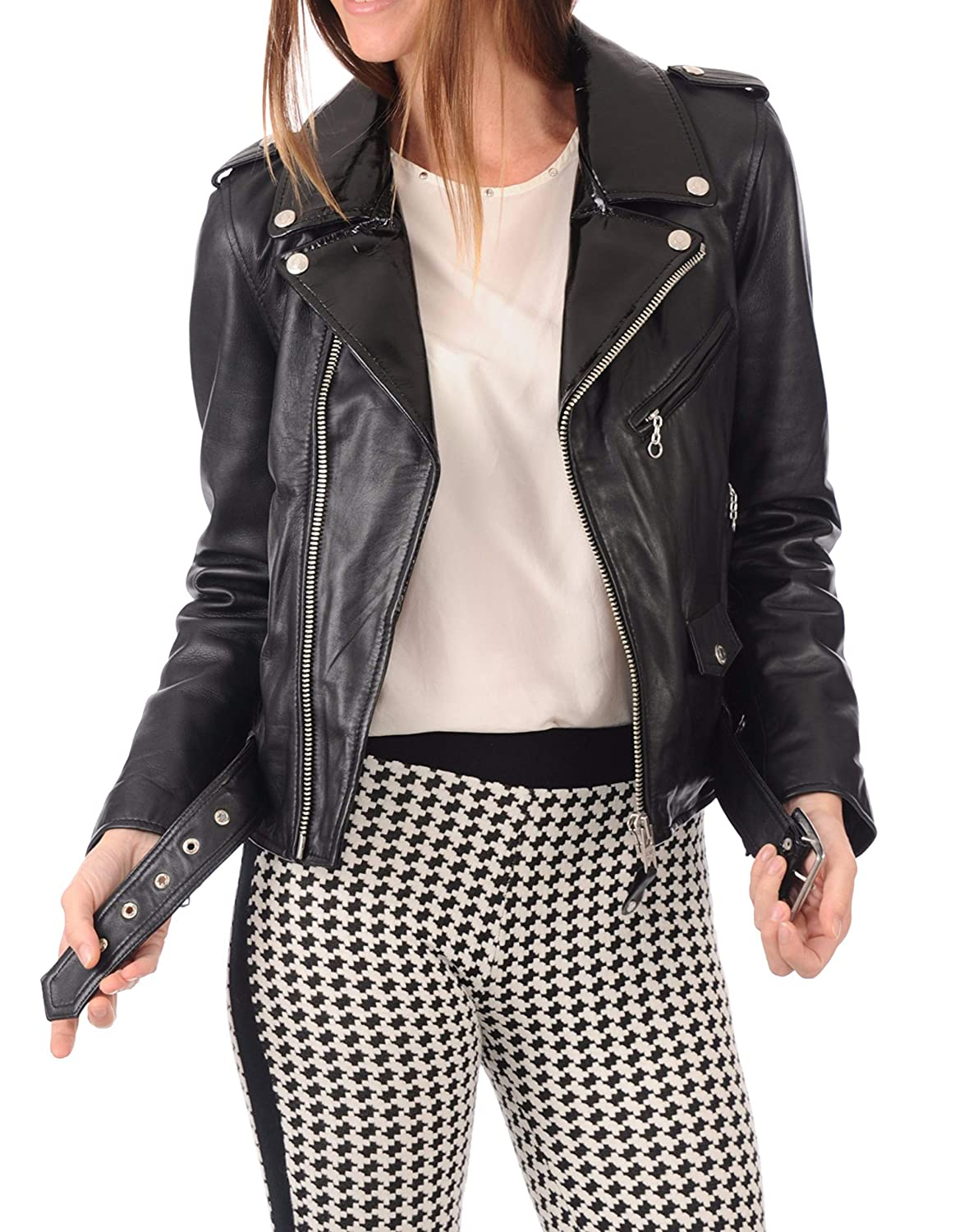 Black27fc DOLLY LAMB 100% Leather Jacket for Women  Slim Fit & Quilted  Moto, Bomber, Biker Winter Casual Wear