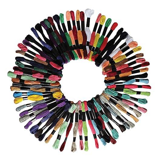 76 opinioni per 100 Pezzi 8 Metri Filato Cotone Cucito Ricamo da Kurtzy- Set Colori Assortiti-