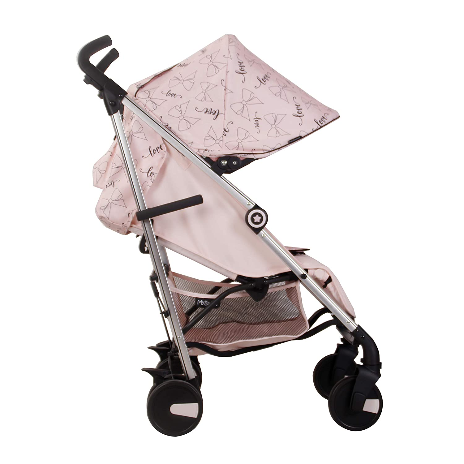 Pram Canopy to fit Silver Cross in white// with navy bows