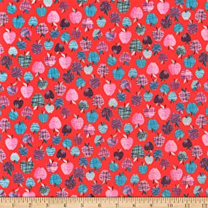 Polyurethane Laminate Apples Red Fabric by the Yard
