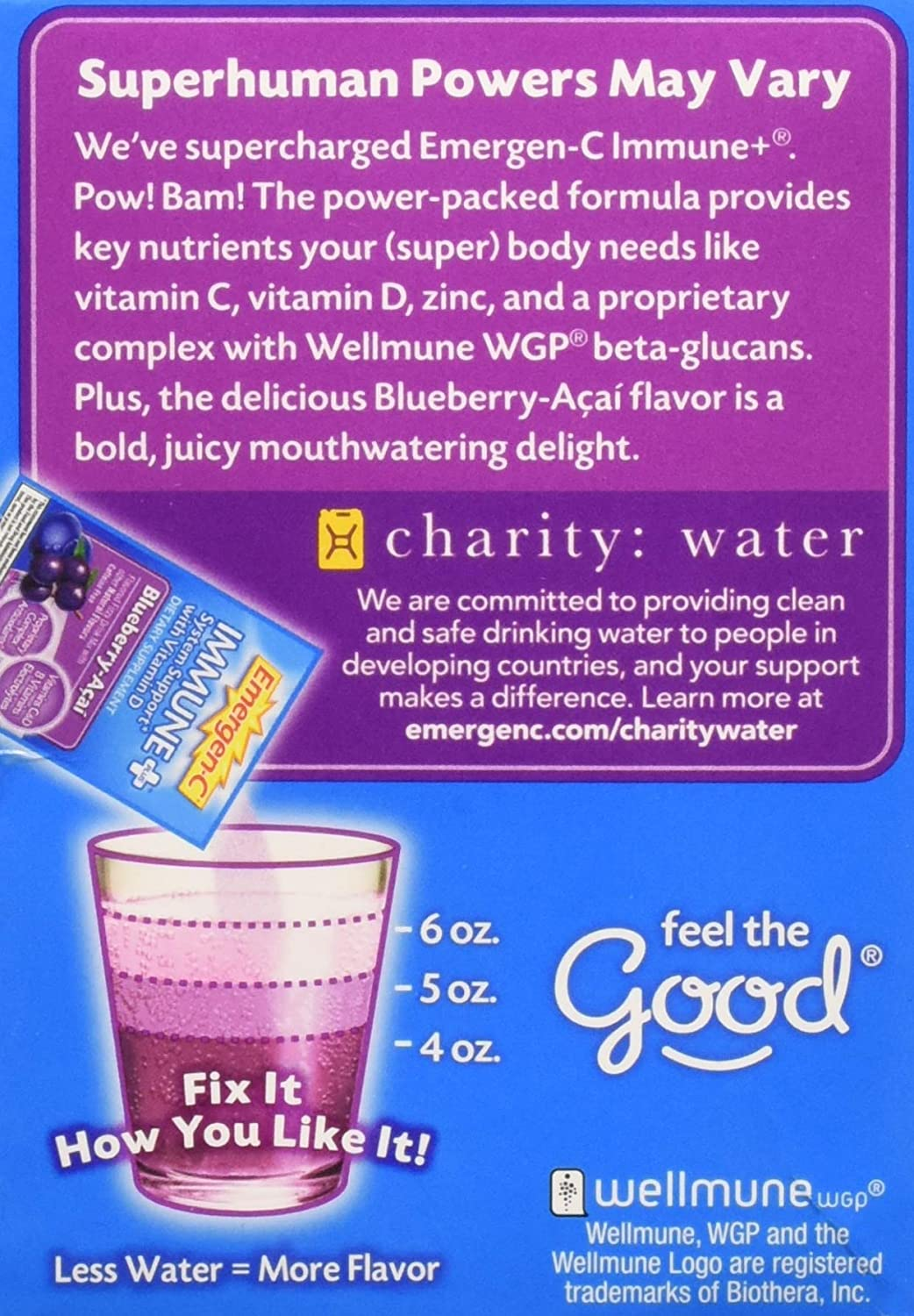Emergen-C Immune+ System Support Dietary Supplement with Vitamin D  (Blueberry-Acai Flavor, 30-Count 0 31 oz  Packets, Pack of 4)