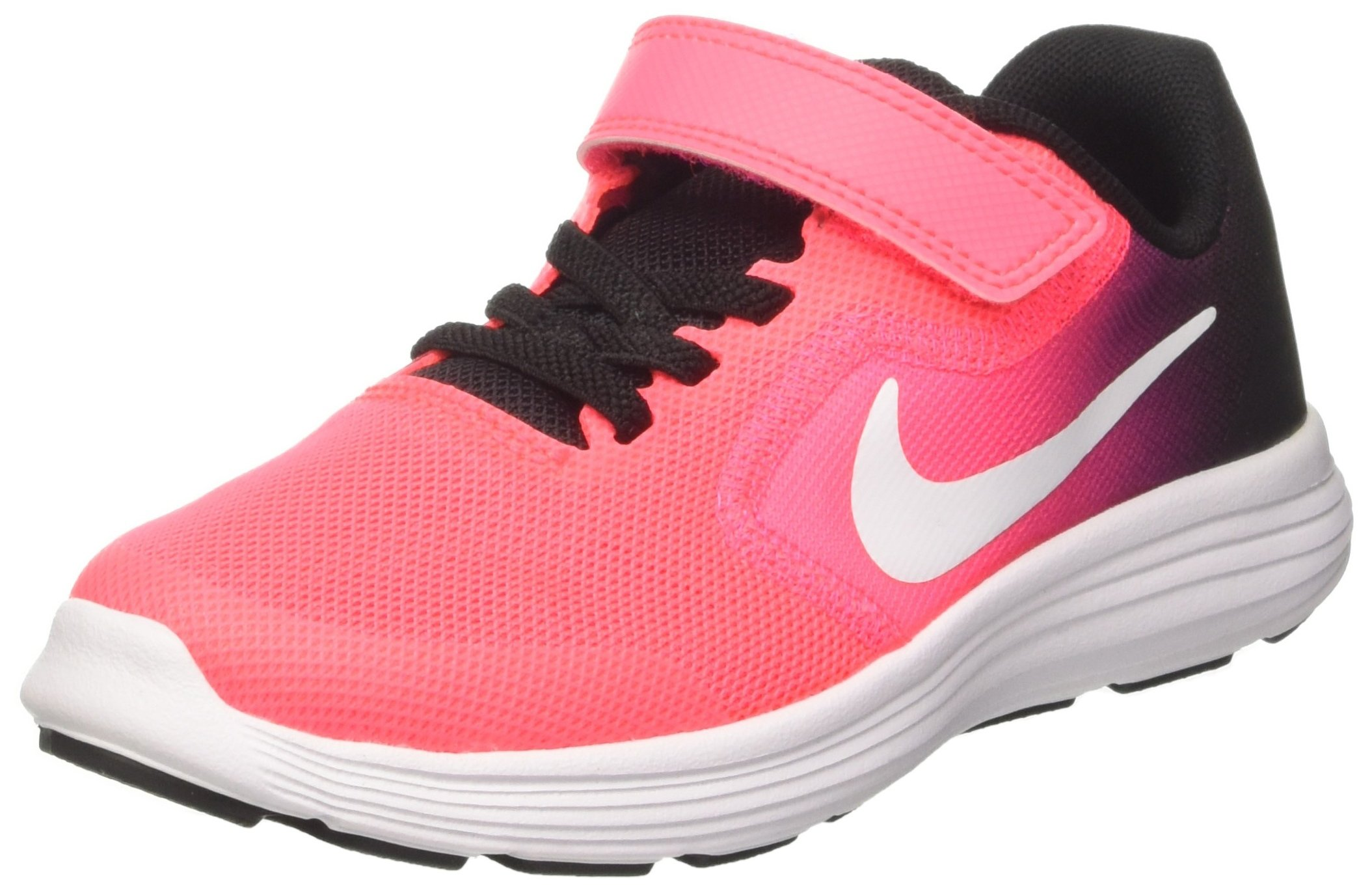 NIKE Kids' Revolution 3 (Psv) Running-Shoes, Black/White/Racer Pink/Black, 1.5 M US Little Kid