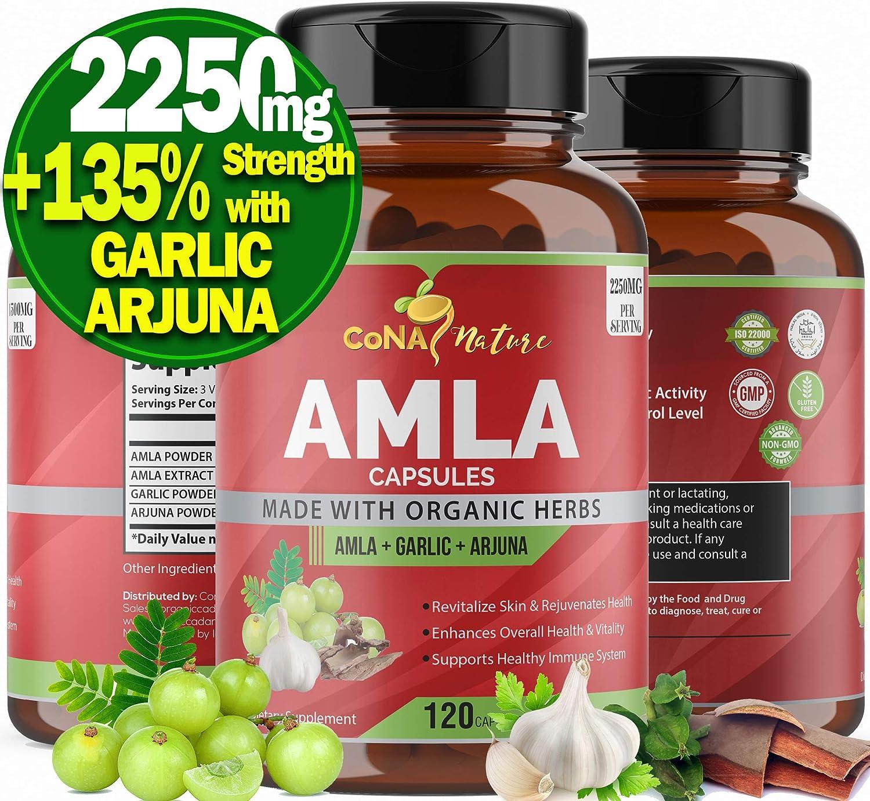 Organic Amla Capsules 2250MG with Arjuna, Garlic Extract  High Vitamin C Supplements for Hair Growth and Skin Gluten Free Dried India Amalaki Powder Fruit Immunity Booster Energy Vegan Food, 120 Caps