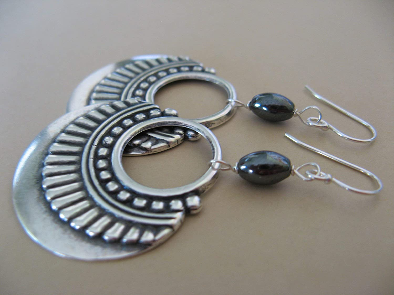 Mixed Metals Ornamental Hoops Sterling Silver Earrings with Hematite Gemstones Boho Jewelry Artisan