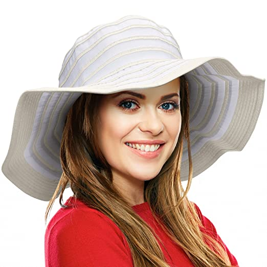 7f7511d9f8e Image Unavailable. Image not available for. Color  Women Summer Beach Hat  Packable Striped Floppy Wide Brim Sun Protection Travel Hats White