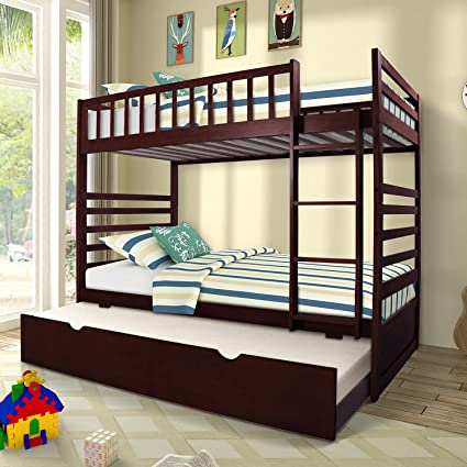 Amazon Com Merax Twin Over Twin Bunk Bed With Trundle Solid Wood