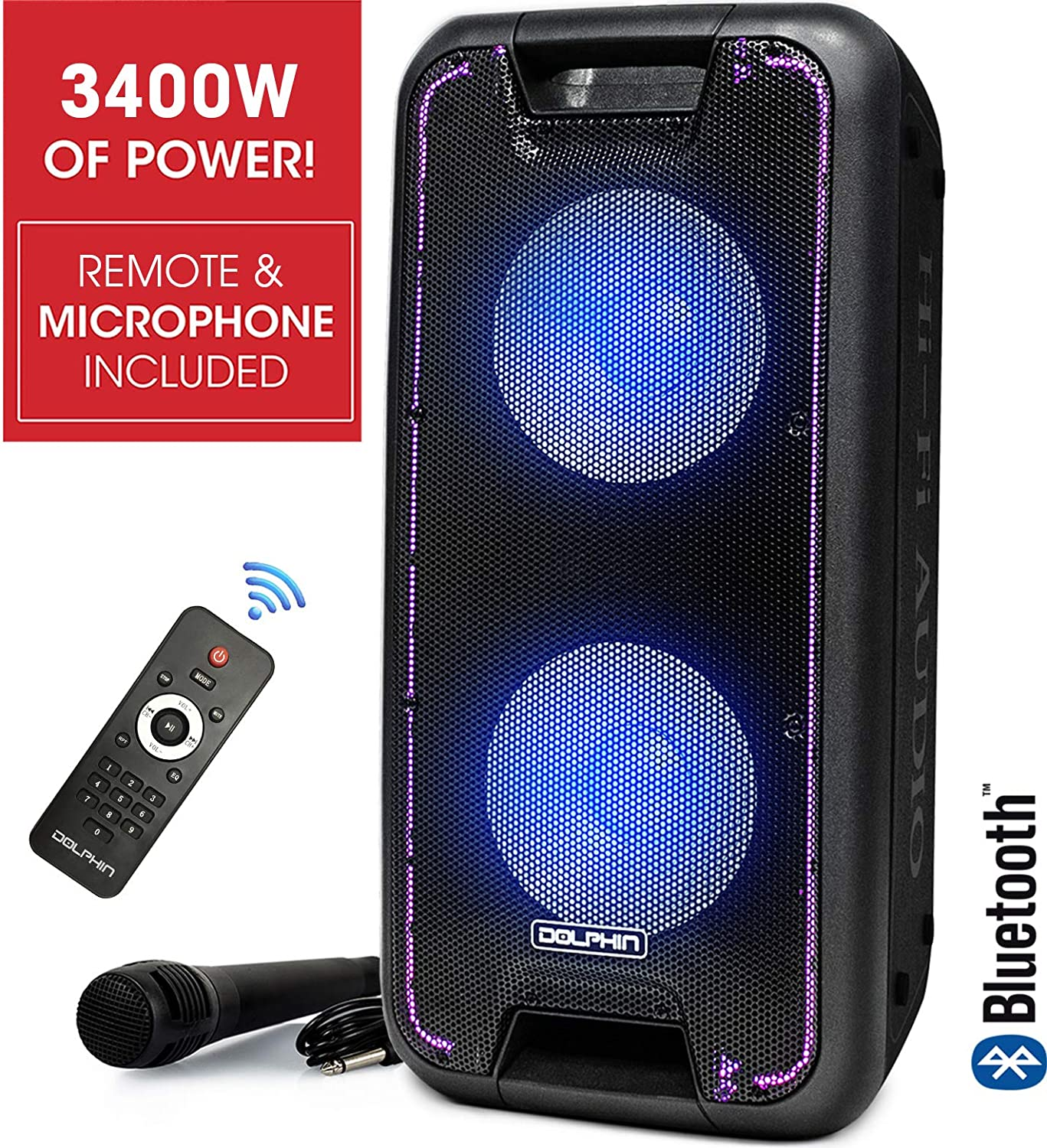 "Dolphin SP-210RBT Portable Bluetooth Party Speaker on Wheels with Lights, 10"" PartyBox"