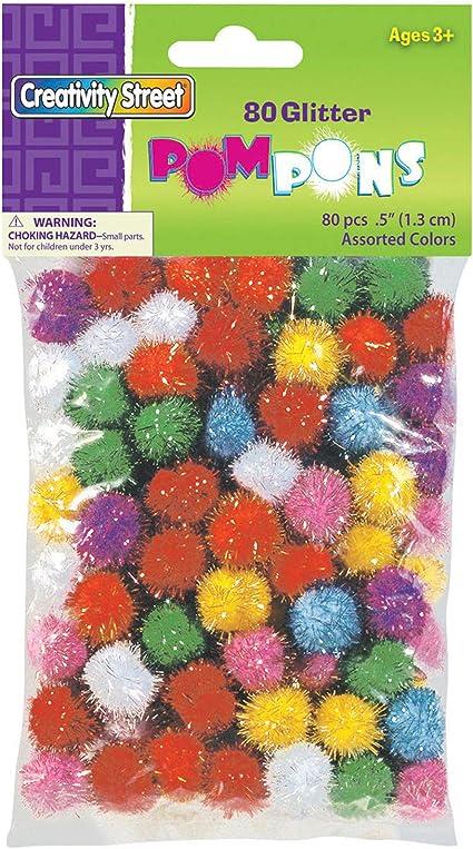Chenille Kraft Creativity Street Glitter Poms 2-Inch X 16-Piece Assorted