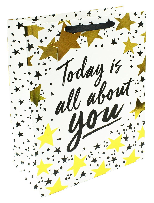 Bolsa de regalo grande unisex con estrellas doradas metálicas: Amazon.es: Oficina y papelería