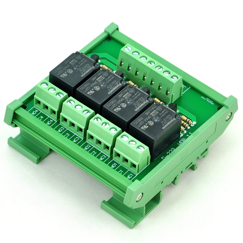 Electronics-Salon DIN Rail Mount 4 SPDT 10Amp Power Relay Interface ...
