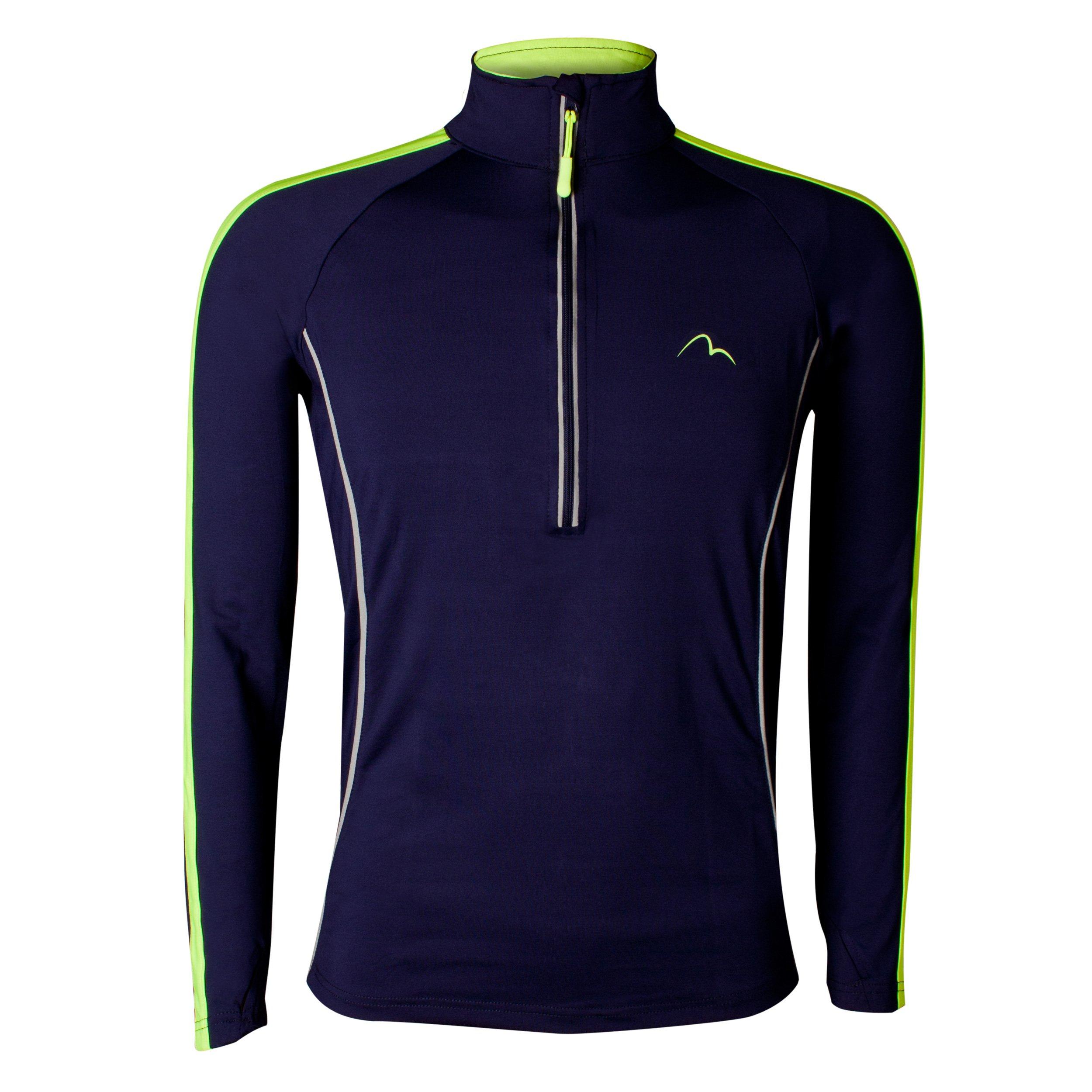 More Mile Hi-Viz Mens Running Top Half-Zip Long Sleeve Sports Training Bekleidung