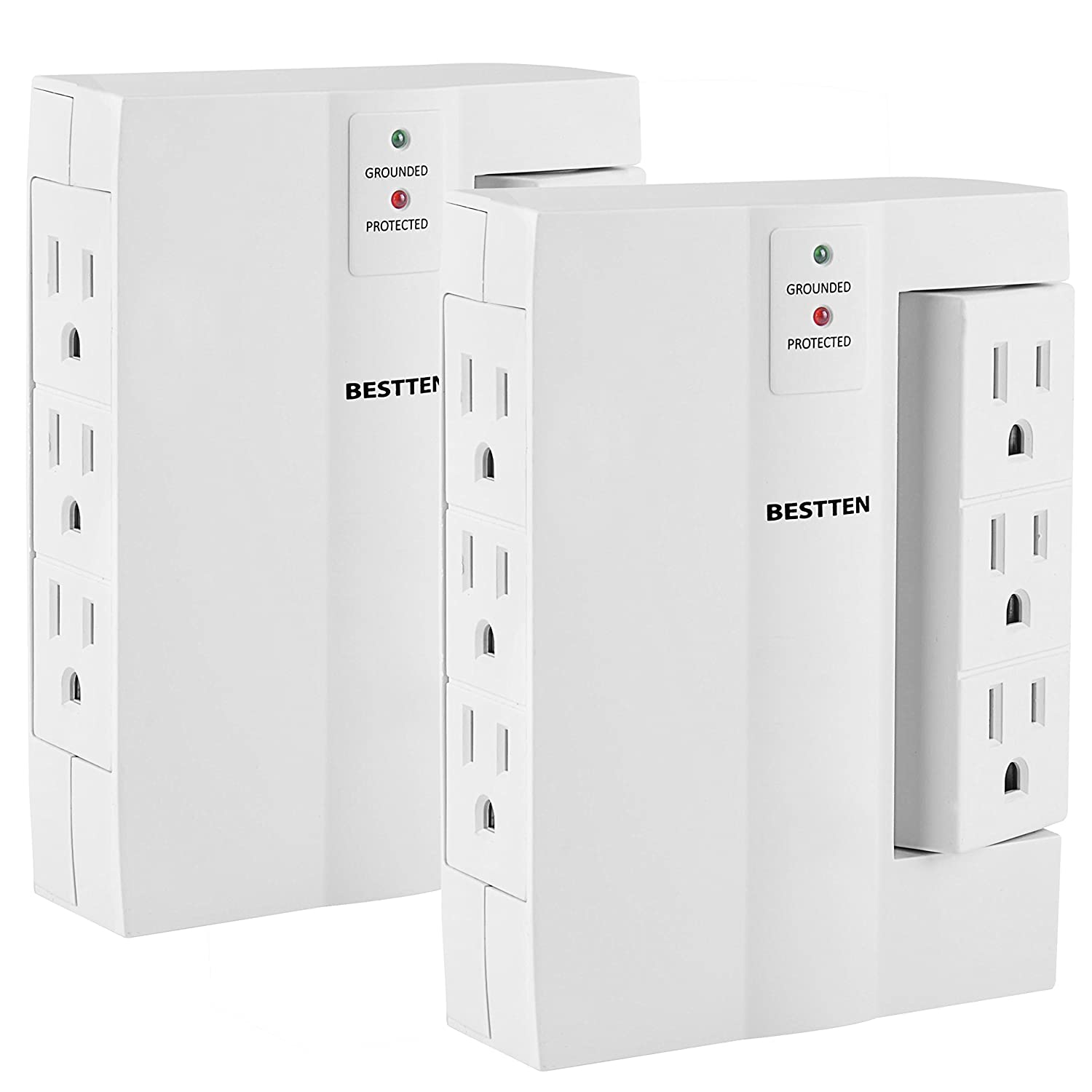Bestten 4 Outlet Power Station 1800 Joules Surge Protector with 4 USB Charging Ports (2.4A/Port, Total 4.2A), 6ft Heavy Duty Cord, 1875W/15A, Perfect for Home and Office Use, ETL Certified USH-4U4A-6B