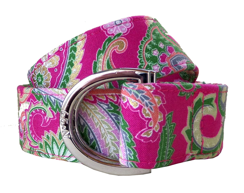 No27 Womans Golden Pink Paisley Pattern Fabric Belt, D-Ring Belt, Womans and Girls Paisley Belt