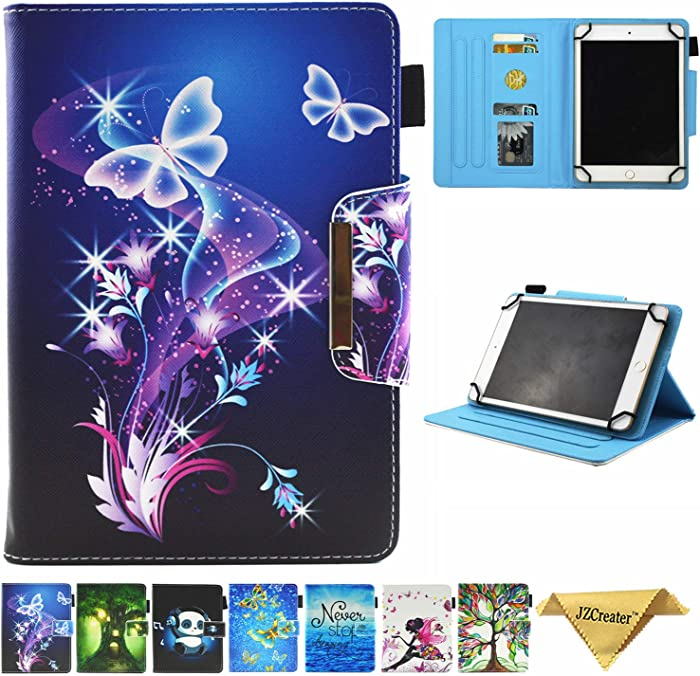 JZCreater 9.5-10.5 inch Tablet Universal Case, Synthetic Leather Case Cover for iPad Air,New iPad 5th/6th Gen, Samsung Galaxy Tab A 10.1/Tab E 9.6 and More 9.5-10.5inch Tablet, Purple Butterfly