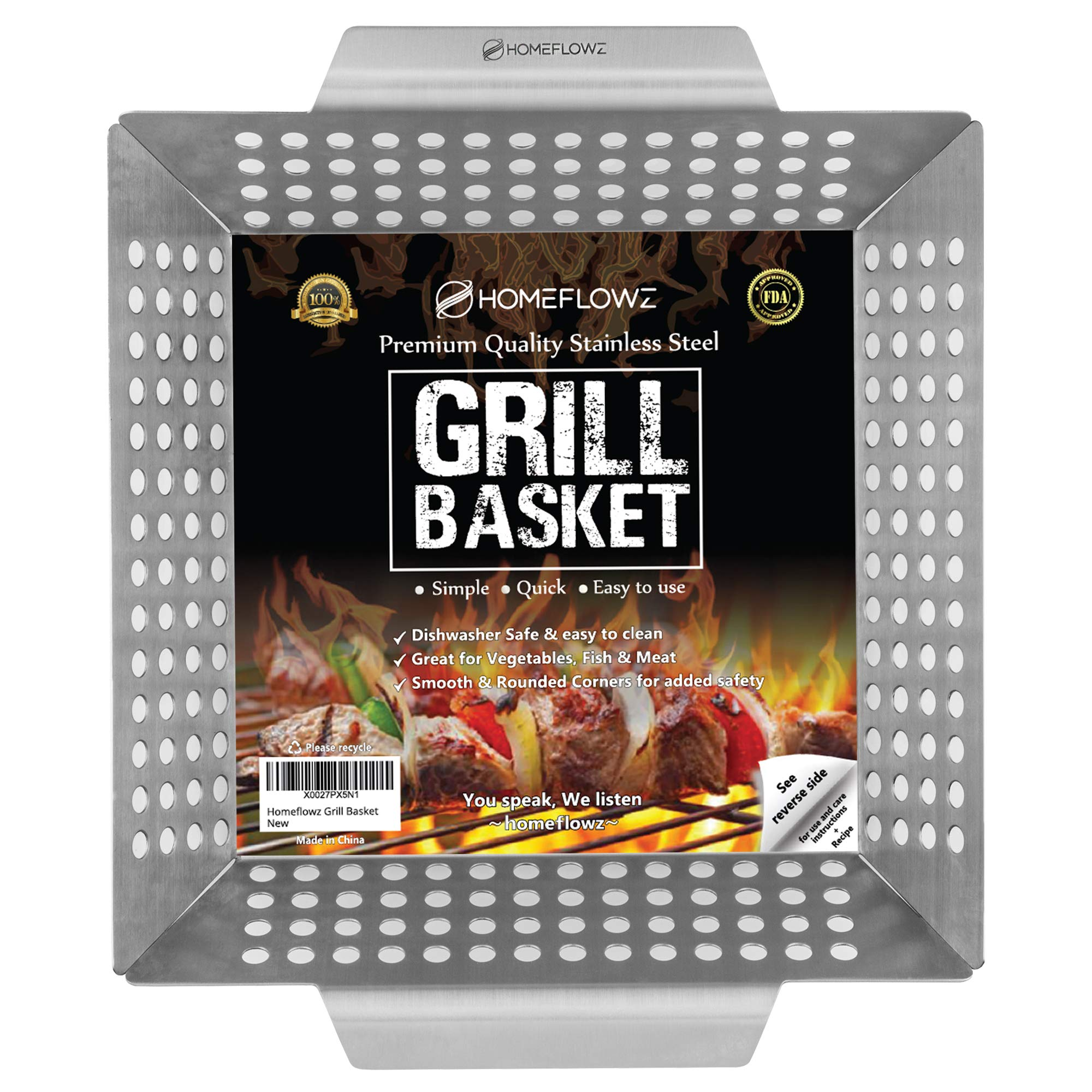 Homeflowz Grill Basket for Vegetables - Large Grilling Pan Wok for Veggies Fish and Meat - FDA Heavy Duty Stainless Steel Accessories for Gas Charcoal and All BBQ Grills - Great for Outdoor Camping by Homeflowz