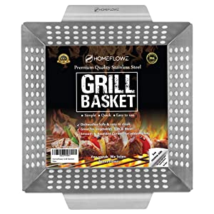 Homeflowz Grill Basket for Vegetables - Large Grilling Pan Wok for Veggies Fish and Meat - FDA Heavy Duty Stainless Steel Accessories for Gas Charcoal and All BBQ Grills - Great for Outdoor Camping