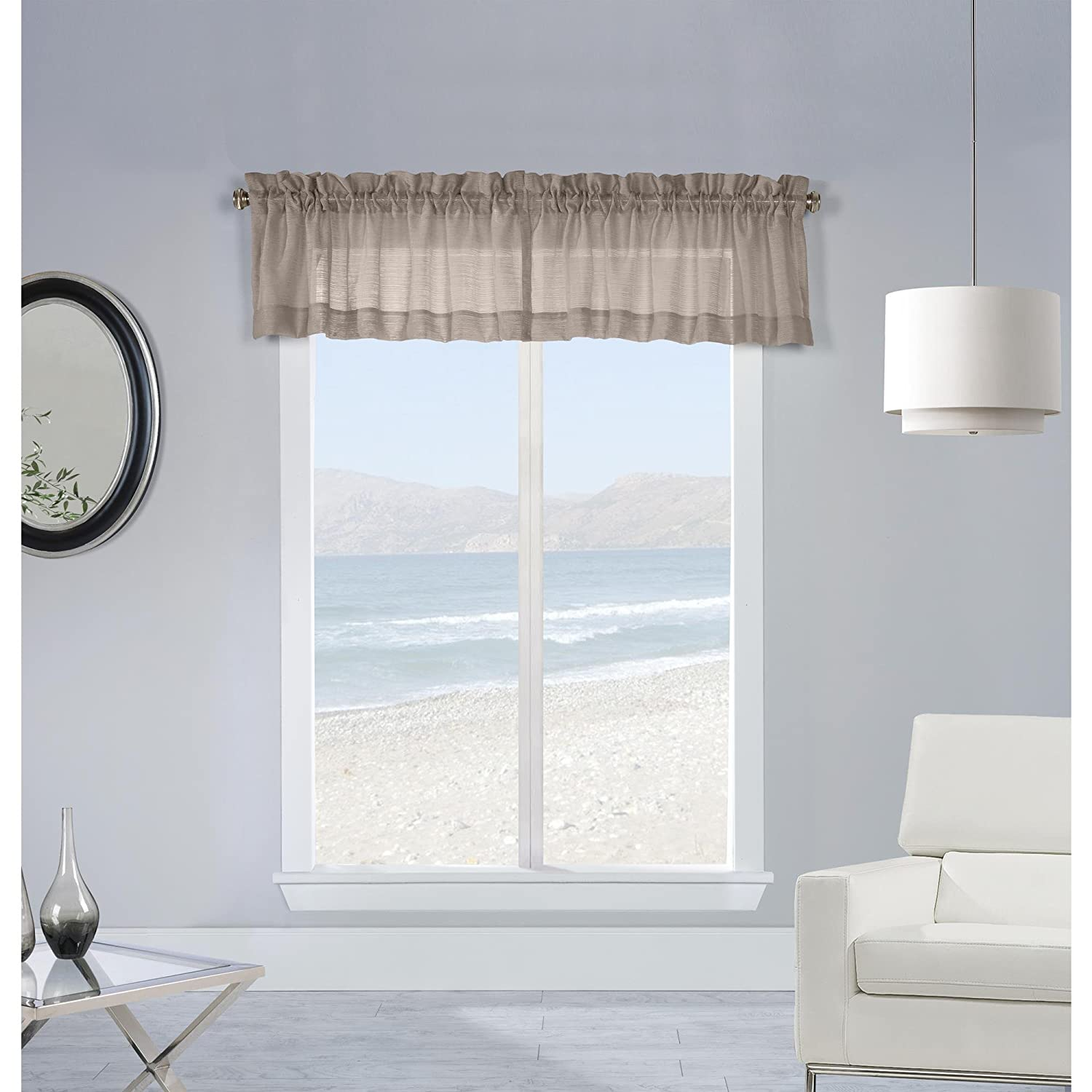 Commonwealth Mist Stripe 16 Pole Top Valance in Taupe