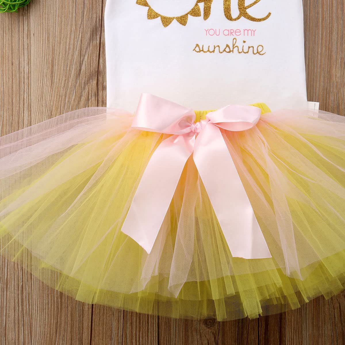 Urkutoba 3PC Baby Girl Sunshine T-Shirt Tops+Ribbon Bowknot Lace Tassels Tulle Tutu Dress+Bowknot Headband for Photo