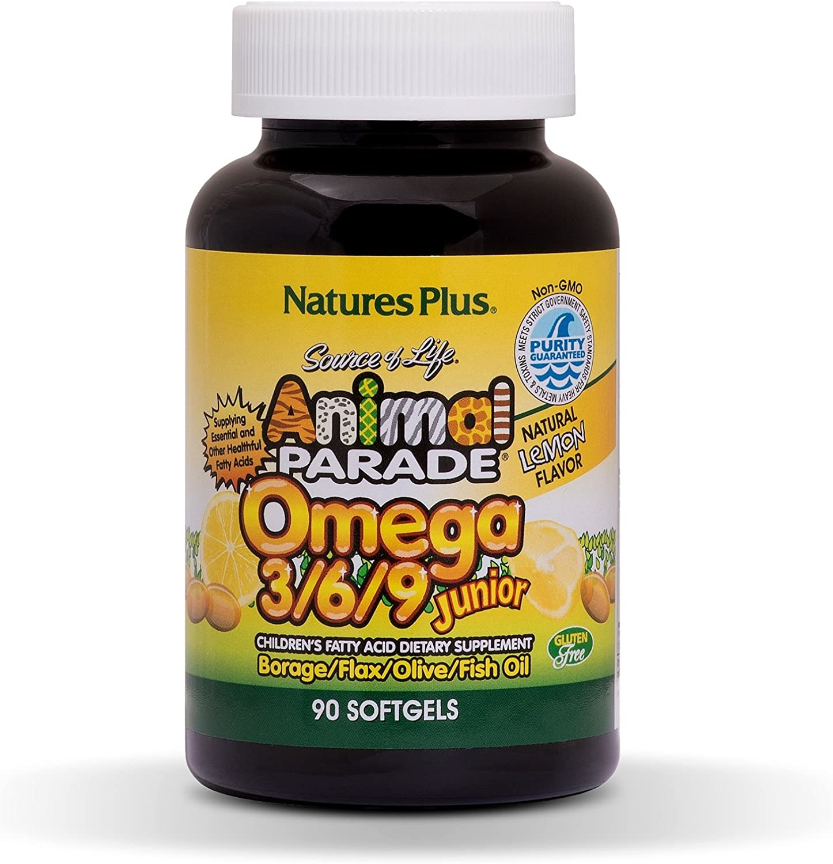NaturesPlus Animal Parade Source of Life Omega 3 6 9 Junior - Lemon Flavor - 90 Softgels - Children's Fatty Acide Dietary Supplement - Non-GMO, Gluten-Free - 45 Servings