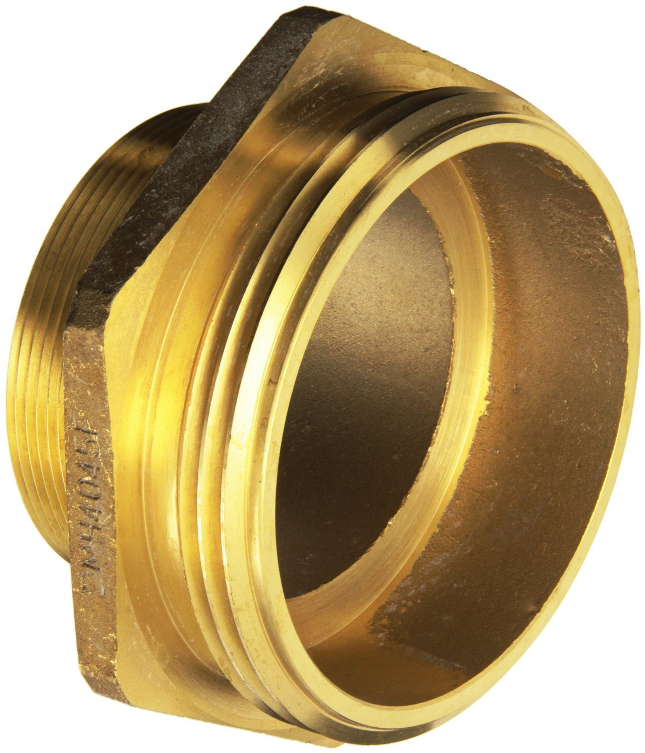 Dixon Valve DMH4045F Cast Brass Fire Equipment, Increaser Hex Nipple, 4'' NPT Male x 4-1/2'' NST (NH) Male by Dixon Valve & Coupling (Image #1)