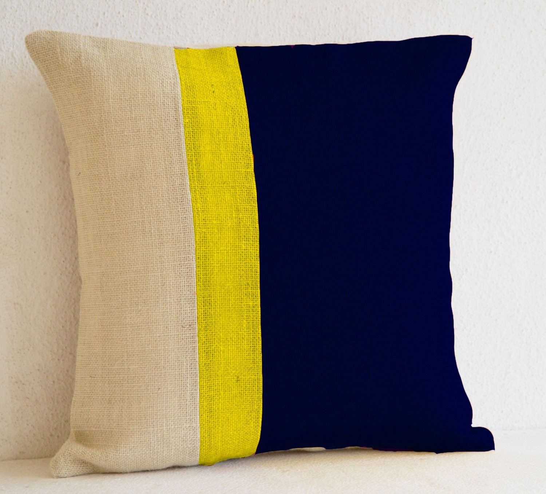 Popular Amazon.com: Navy Blue Colorblock Pillow Cover- Burlap Pillows  GG59