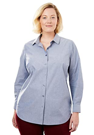 4f99fc3f2 Woman Within Women's Plus Size Perfect Button Down Shirt - Chambray, ...