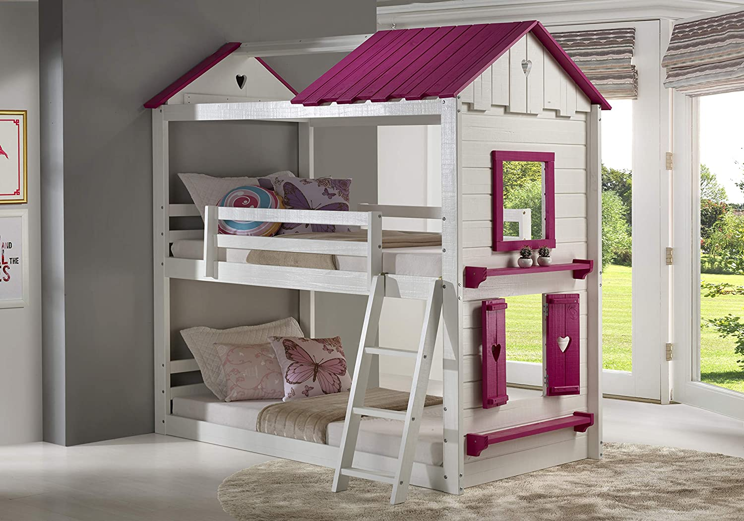 DONCO Twin Sweetheart Bunk Bed with Pink Tent
