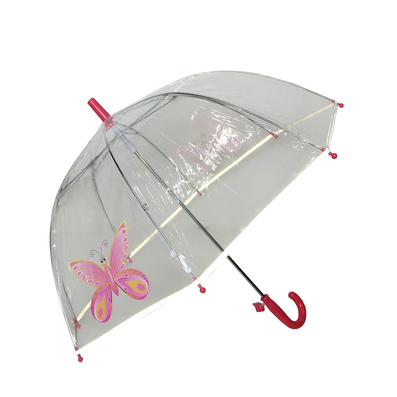 8 Baleines Fibres Arc en Ciel SMATI Parapluie Enfant Transparent Cloche Bordure Fluorescente Anti-Vent