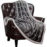 "Chanasya Super Soft Ultra Plush Healing Thoughts Warm Hugs Posivite Energy Comfort Caring Gift Gray Microfiber Throw Blanket (50"" x 65"")- Gray and White Gift Blanket"