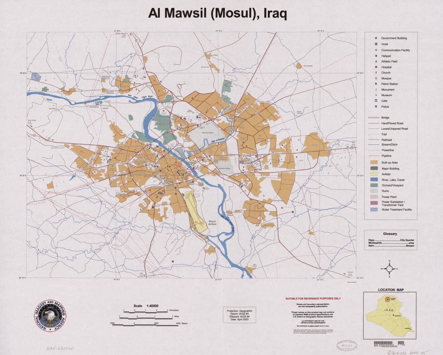 """20/"""" x 24/"""" 2003 Topographic Map Of Al Mawsil Mosul Iraq"""