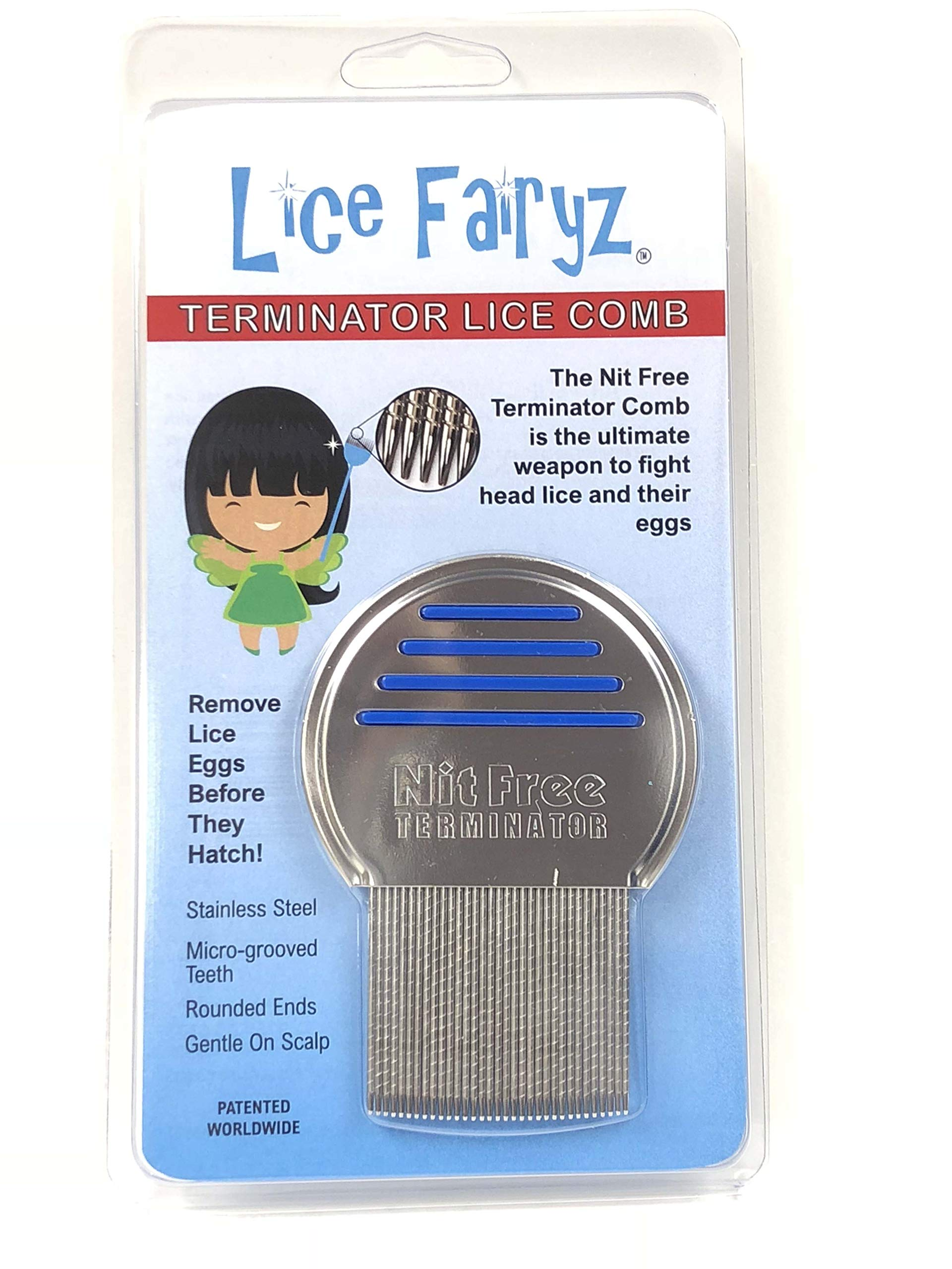 Lice Fairyz Professional Terminator Lice Comb Most Effective Comb to Naturally Treat Head Lice Easily Removes Lice & Lice Eggs with Highest Quality Grooved Stainless-Steel Teeth - 2 or 8 Pack