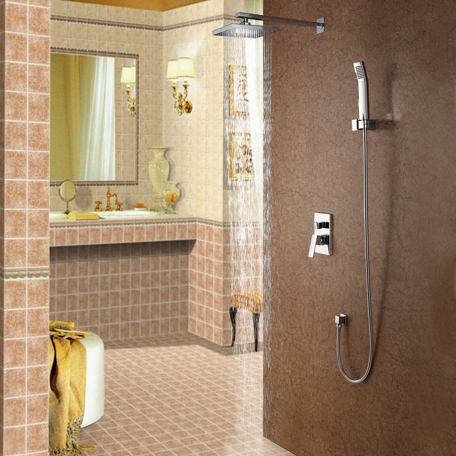 Sprinkle Contemporary Shower Faucet with 8 inch Shower head + Hand ...