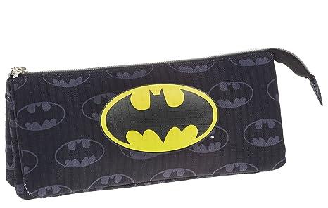Batman- Estuche portatodo Triple, Color Negro, 22 cm (Karactermanía 33538)