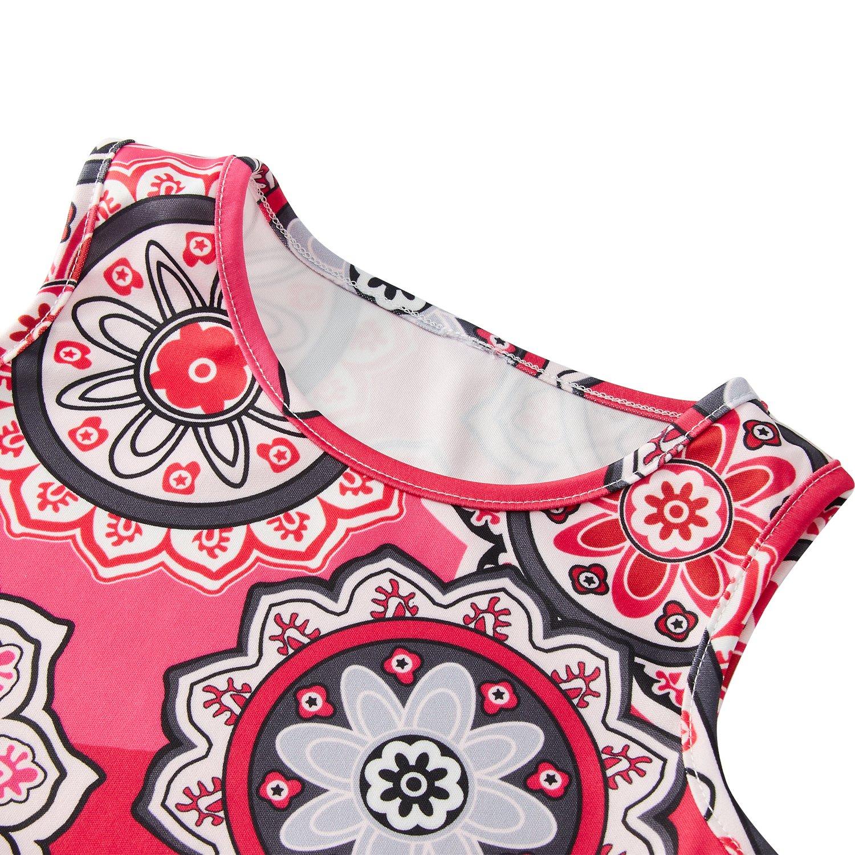RAISEVERN Cute Girls Summer Bohemian Sunflower Dress Sleeveless Mandala Floral Printing Boho Swing Casual/Party (4-13Years) by RAISEVERN (Image #4)
