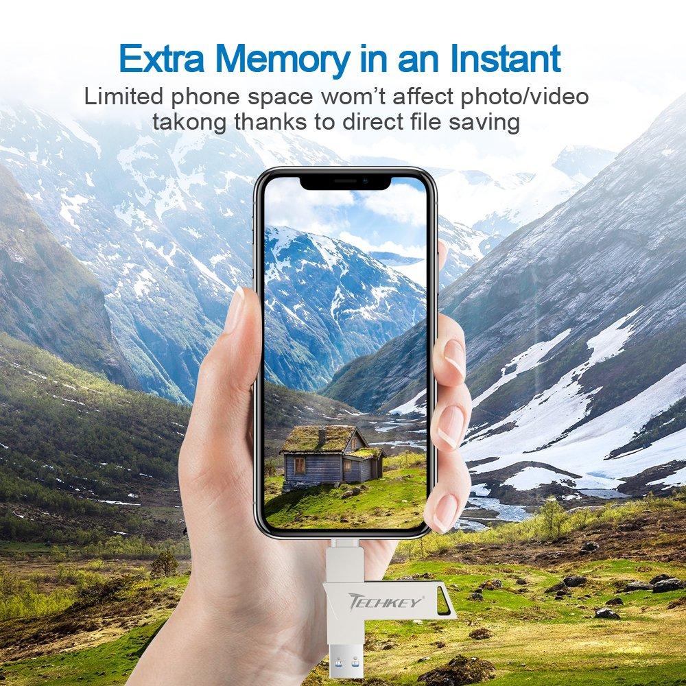 Iphone Lightning Flash Drive 64gb Apple Certified Techkey Ios Usb Adam Element Iklips 32gb Gold 30 Pen External Storage Memory Stick Adapter Expansion For Ipad Windows Pc