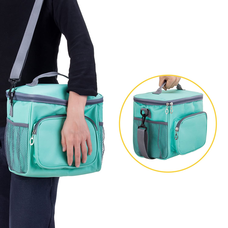 Double Deck Heat-resistant Cooler with Adjustable Shoulder Handbag(Black) Adult Lunch Box Insulated Lunch Bag Large Cooler Tote Bag for Men /& Women