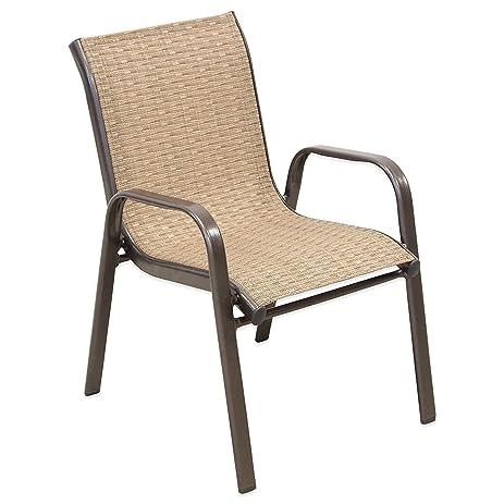 Kids Stacking Patio Chair Outdoor Children Furniture (1, Brown)