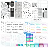 Ultimate Productivity Stencils & Stickers - x20 Sheets of Planner Stickers, x6 Stencils - Calendars, to Do Lists, Habit Track
