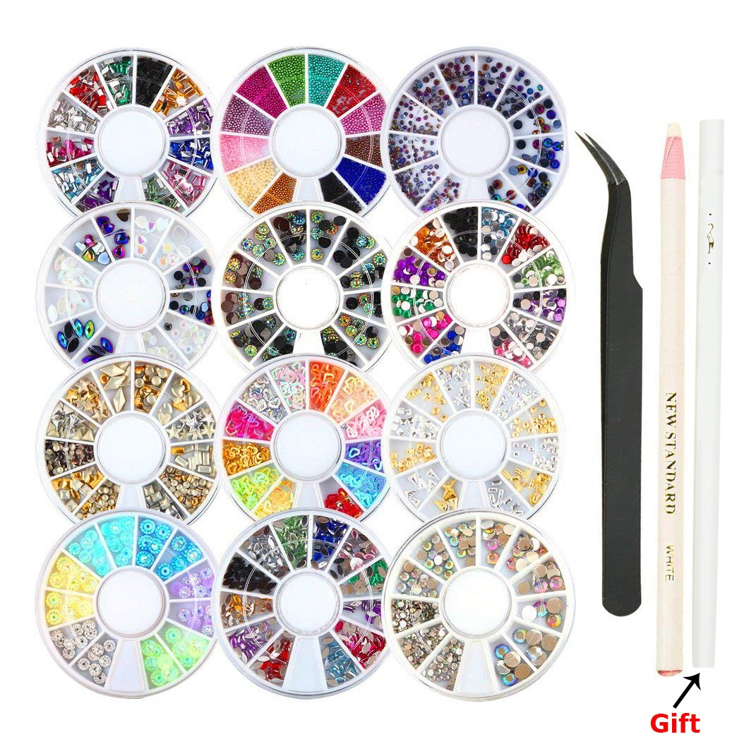 12 Boxes Nail Art Rhinestone Set, UniquQ Nail Art Rhinestones Set with Pick Up Pencil and Tweezers Nail Art Decorations Wheel Set Nail Rhinestones Artificial Beads Steel Balls Horse Eye Rhinestone etc.