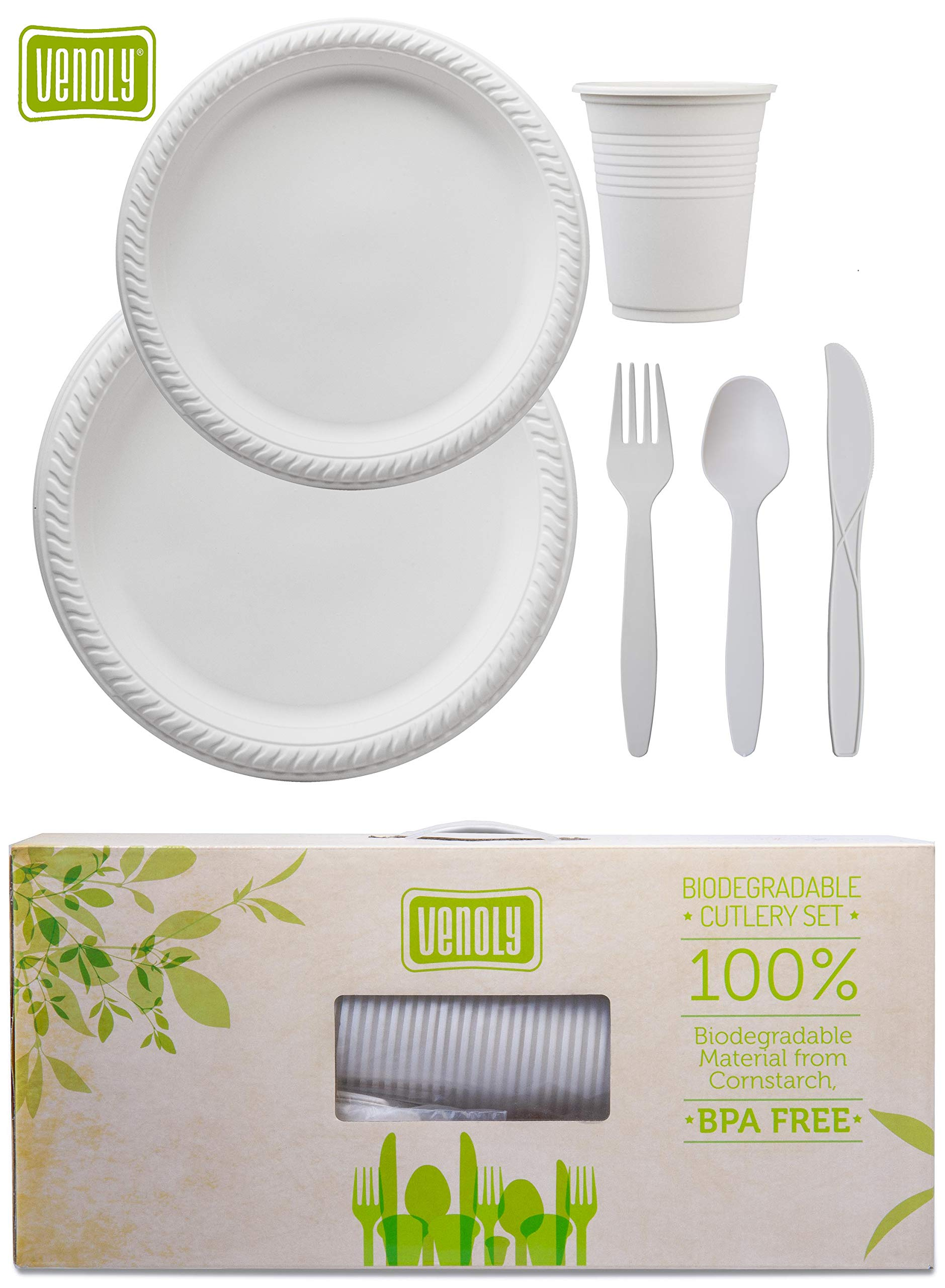 Venoly 100% Disposable/Biodegradable/Compostable Forks/Knives/Spoons Cutlery Set - 100 Forks, 100 Knives, 100 Spoons, 100 Cups, 50pc 7'' Plates, 50pc 9'' Plates, 500pc Total, Made From Cornstarch