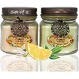 Way Out West 香味罐蜡烛礼品套装 2 件套 -天然大豆蜡混合 - 香味,持久蜡烛 - *好的香味蜡烛礼品创意 - 独特的她 Peach & Green 2-8 ounce glass jar candles B01CXBM0YM